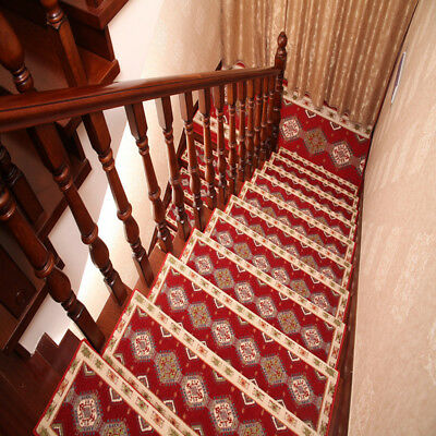 13pcs Stair Tread Mats Durable Carpet Non Slip Step Rug Rectangular Hotel Decor