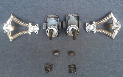 Antique french Art Deco furniture hardware set 1930's handles locks key holes