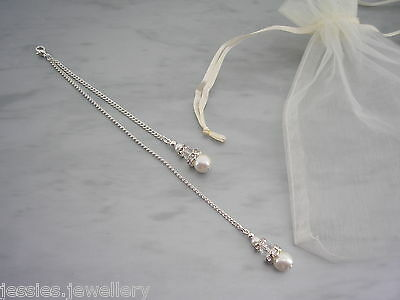 6bw Backdrop Attachment for necklace Pearl Crystal Diamante Silver Gold
