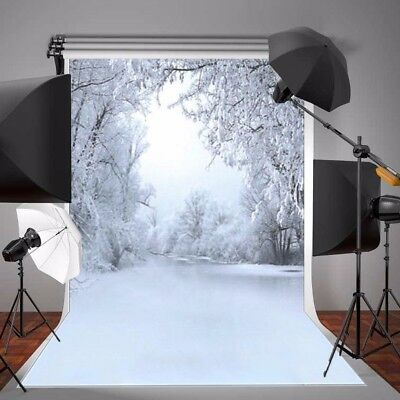 5X7FT Winter Snow Ice Forest Tree Photography Background Photo Studio Backdrops