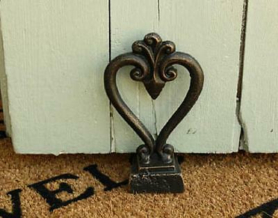 Shabby Vintage Antique Style Black Gold Heart Doorstop Wedge Distressed 11cm