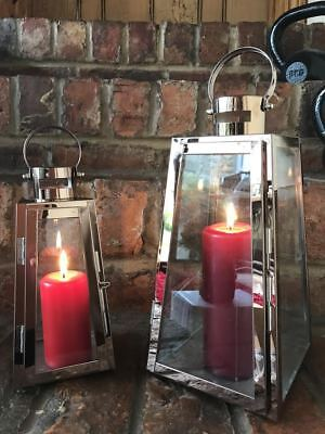Copper Stainless Steel & Glass Pillar Candle Holders Hanging Hurricane Lanterns