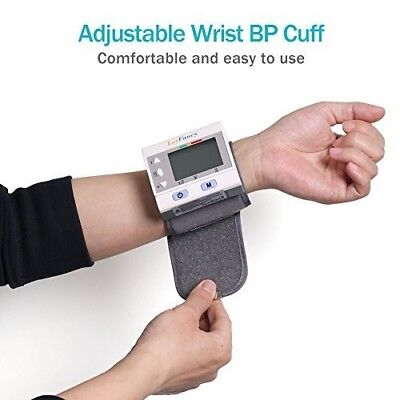 Automatic Blood Pressure Monitor Wrist Cuff Portable Case Heart Rate Large LCD