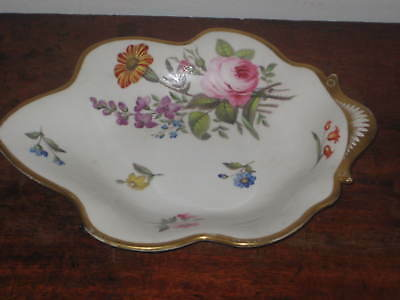 Large English Serving Dish Very Well Painted Gilded Circ 1820S 30S