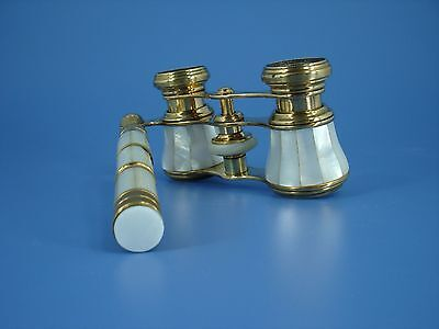 French mother of pearl and bronze opera glasses with handle