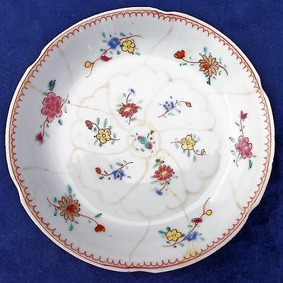 Antique Chinese Export Porcelain Hand Painted Saucer Qing 清代 Mid 18th C