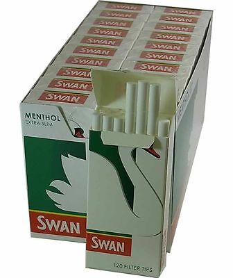 SWAN MENTHOL EXTRA SLIM PRE CUT CIGARETTE FILTER TIPS 120 x 20 ROLLING TOBACCO