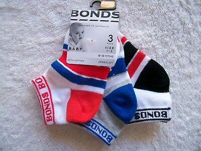BNWT Baby Boy's Bonds 3 Pack Sports Socks Shoe Size 1-2 6-12 Months