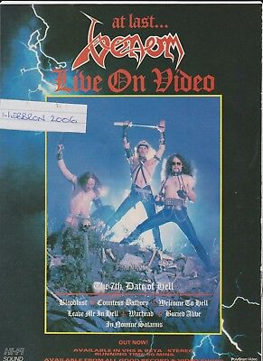 Venom The 7th Date Of Hell Live Video 1980's Vintage 1 Page Magazine Advert.