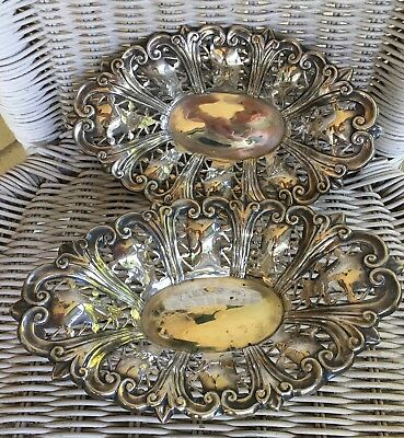 2 x ANTIQUE SILVER DISHES plate dish bowl EP EPNS vintage hallmarked