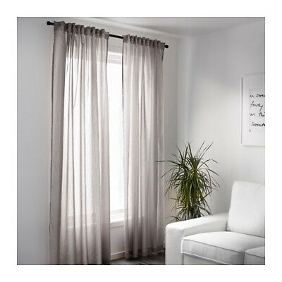 2 Pairs (4 Panels) IKEA Grey Sheer Curtains Blinds Screen 250 x 145cm