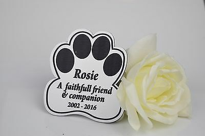 Personalised Paw Shape Engraved Pet memorial Plaque. Cat, Dog