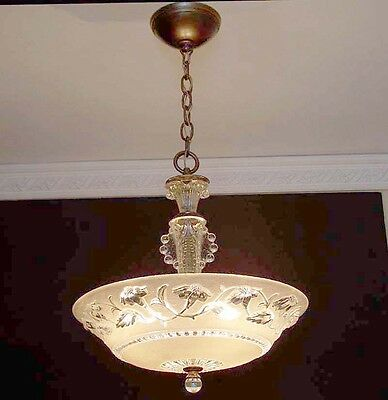 556 30s 40's Vintage Ceiling Light Lamp Fixture Glass Chandelier antique