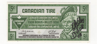 Canadian Tire 5¢ coupon note signed by Owen Billes CTC S28-B08