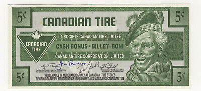 Canadian Tire 5¢ coupon note signed by Huw Thomas and Tom Gauld CTC S29-B07