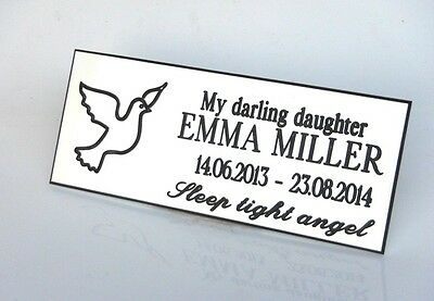 Engraved,Personalised White, Bench Memorial, Plaque, family