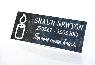 Engraved,Personalised marble effect, Bench Memorial, Plaque, family