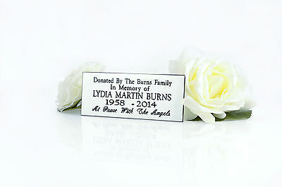 Personalised Engraved White memorial Bench plaque sign