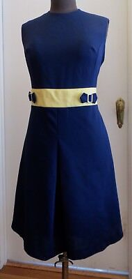 Vintage 60's Navy And Yellow Mod Dress. Crimplene. M SizE44