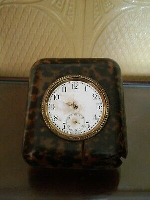 Vintage tortoise shell Travel clock