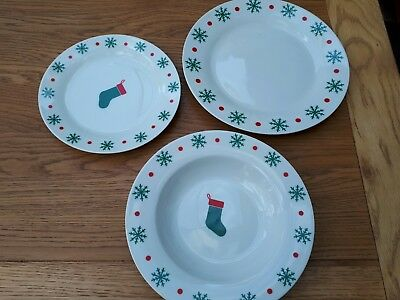 Set of Christmas plates - dinner, bowl and side - 6 of each - Italian pottery
