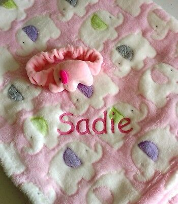Embroidered or Monogrammed Plush Pink or Blue Elephant Baby Blankets
