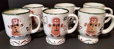 Frankoma Christmas Mugs - Gingerbread '99  - Hand Painted - Set of 6