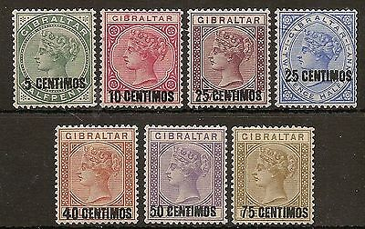 Gibraltar 1889 Surch Set Sg15/21 Lightly Hinged