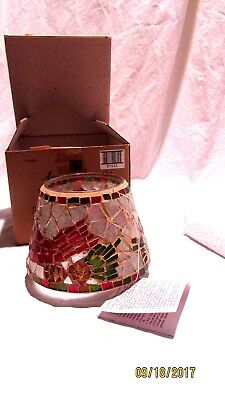 Home Interiors V-11076 Mosaic Stained Glass Candle Shade Cardinals