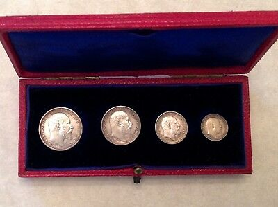- Great Britain 1902 Edward VII Coronation Boxed Maundy Set with Dated Case