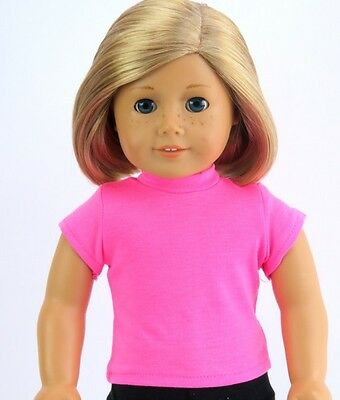 Hot Pink T-Shirt fits American Girl Dolls 18 inch Doll Clothes Short Sleeve
