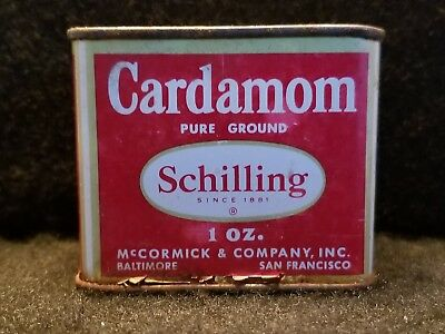 Vintage Schilling Spice Tin Cardamom 1 Ounce FREE Shipping