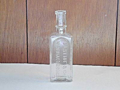VINTAGE BASTINE & Co New York Pure Extracts Clear Glass Bottle 5 1/2