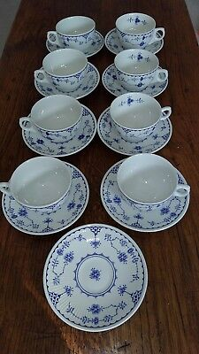 Eight Furnivals Blue Denmark Cups and Saucers