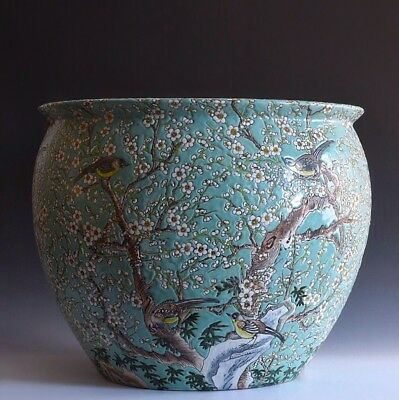 A Large 20th Century Chinese Porcelain Famille Magpie Prunus Enameled Jardiniere