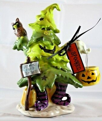 Blue Sky Clayworks Goldminc Halloween Do Not Feed Tree T Light House Boney Bunch