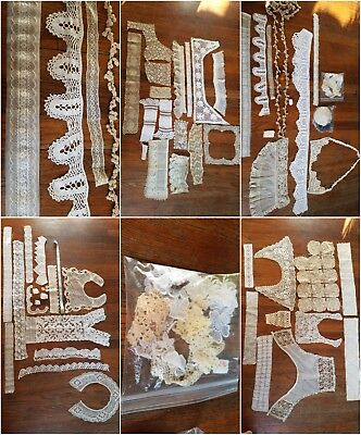 Antique lace trim and Collar lot Handmade Tambour Embroidered Linen Crochet