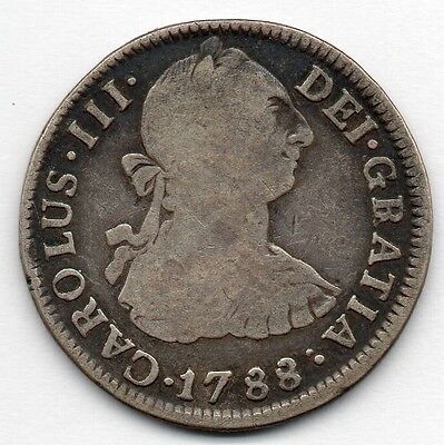 Mexico 2 Reales 1788 MoFM (89.6% Silver) Coin