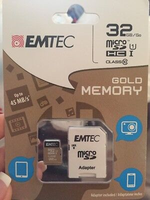 BRAND NEW EMTEC 32GB micro SD WITH ADAPTER  Factory Sealed Free Shipping