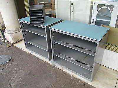 Pair Of Vintage 1950's Metal Filing Cabinets & Small Filing DrawersSALE £295!