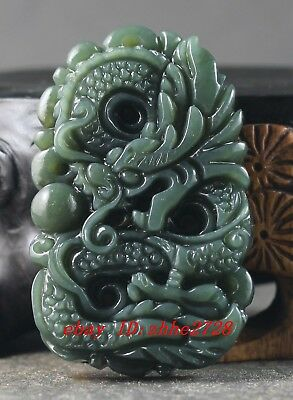 Chinese natural Hetian jade hand-carved statue of dragon pendant