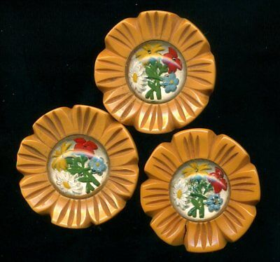 Set of 3 Vintage Buttons…Bakelite with Painted Intaglio Flowers…Wonderful!