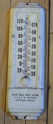 """Vintage 9"""" Metal Blue Seal Feed Store Thermometer Stackpole Montpelier VT Works"""