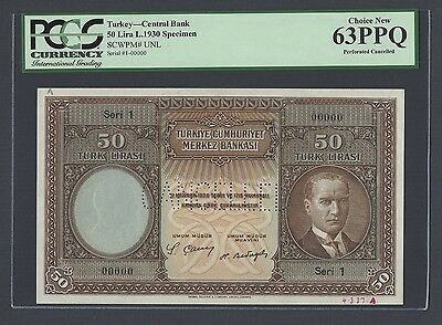 Turkey 50 Lira L1930 Pick Unlisted  Specimen Perforated Uncirculated