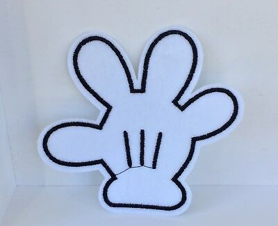 White Disney Mickey Mouse Hand Embroidered Appliqué Patch Sew Or Iron On