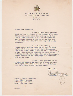 NEW JERSEY Governor Harold Hoffman 1936 AUTOGRAPH SIGNED Letter Closing CCC Camp