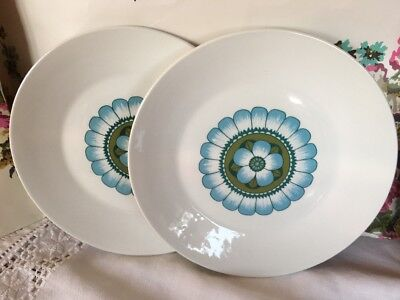 "Vintage J & G MEAKIN-Studio ~*Capri*~2 Small DINNER or LUNCH PLATES-9""- 1960/70s"