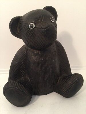 "10"" Teddy Bear Carved Grooved Dark Wooden Wood Sitting Vintage Folk Art"