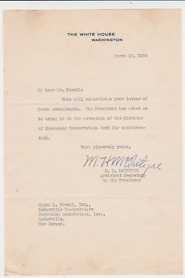 White House 1936 AUTOGRAPH SIGNED Letter Ass.Secretary to President Roosevelt