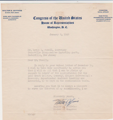 NEW JERSEY Walter Feffries 1940 U.S.Congress AUTOGRAPH SIGNED Letter Land Grant